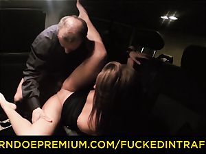 penetrated IN TRAFFIC curious brown-haired intercourse with driver
