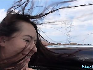PublicAgent torrid black haired Russian pounded on a car