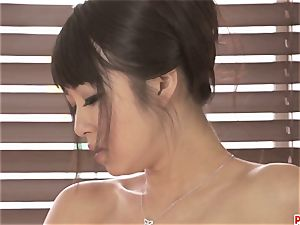 super-sexy Kotomi groping and frolicking her humid and unshaved cunt