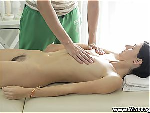 Russian female loves an erotic rubdown with relish