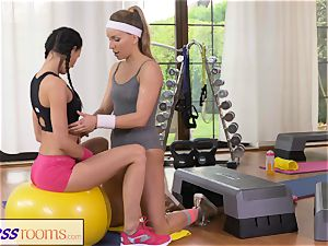 FitnessRooms two lezzie Gym playmates exercise