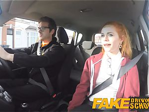 fake Driving school lovely sandy-haired Ella Hughes pummels