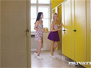 Private.com - lezzie threesome in the restroom