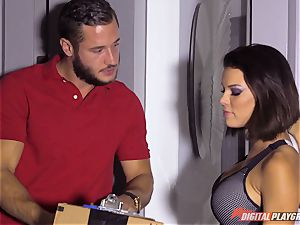 crazy dark-haired Peta Jensen receives package from the wrong mailman