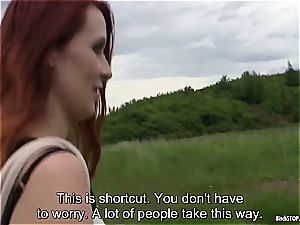 Outdoor hook-up with promiscuous red-haired