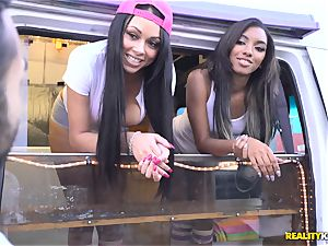 Raven Wylde and Bethany Benz facial cumshot in ice cream truck get cooter banged