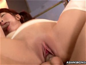 japanese sandy-haired is bandaged and group-fucked