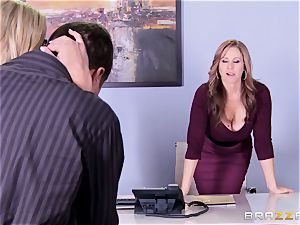 Julia Ann and Olivia Austin drill the manager together