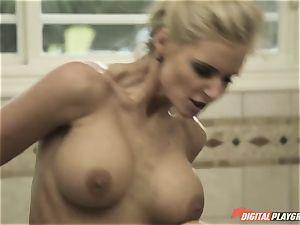 naughty immense boob mummy Phoenix Marie smashes her daughter's molten boyfriend in the bathroom apartment