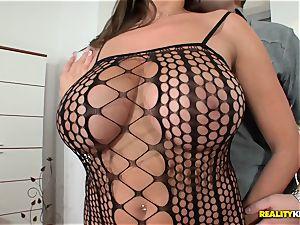 huge boobied voluptuous Jane screws in fishnet