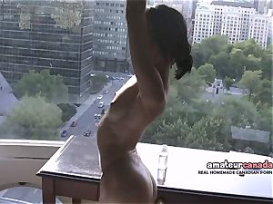 thin french Montreal porn starlet demonstrates toned fit figure