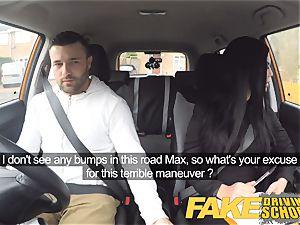 fake Driving college Jasmine Jae completely naked romp in car