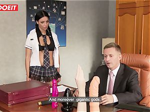 kinky school chick puts all Kind of Things in Her bum