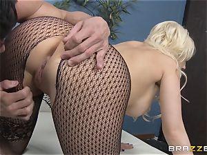 towheaded assistant Kagney Linn Karter pounding her kinky colleague