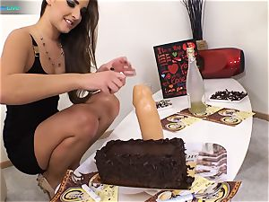 great beauty Amirah Adara and inked female Misha Cross plays with their faux-cocks