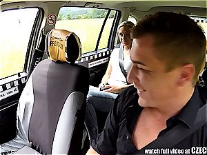 Czech platinum-blonde rides cab driver in the backseat