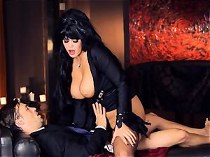 dark-hued haired Alison Tyler humps her suited lover