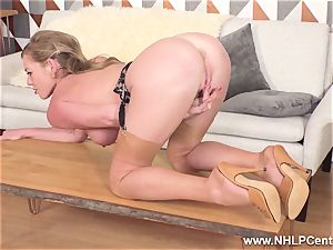 blonde frigging humid cooch in antique nylons high heels