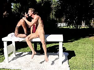India Summer creampied on the masturbating table part 2