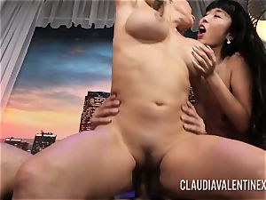 Claudia Valentine joins a duo for a three way