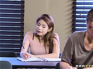 obese sweetheart with inborn bumpers entices her classmate during the examination