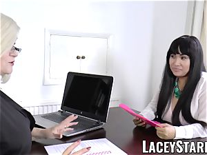 LACEYSTARR - business GILF tongue probes young puss