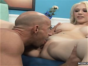 Smoking red-hot ash-blonde with phat globes gets porked hard