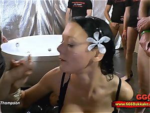 filthy brunette mega-bitch used as a wc in a enormous gang-bang