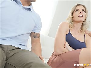 Cory chase filling a fat man-meat into her vulva
