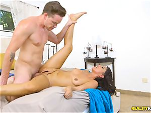 insane real estate agent Sophia Leone catapults a customers cock in her throat