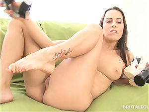 fabulous dark-haired wide open her rosy coochie with big fuck sticks