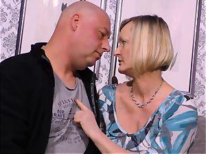 hard-core OMAS - messy mature tear up with beginner German platinum-blonde