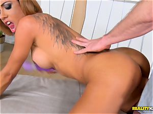 Rose Valerie gets her incredible muff and bootie crammed with rock hard stiffy
