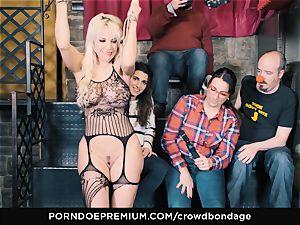 CROWD restrain bondage - subjugated ash-blonde Fesser harsh sadism & masochism romp