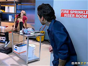 juicy student Abigail Mac pulverizes in the janitors apartment