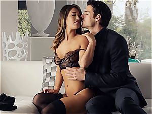 gorgeous Eva Lovia is instructing her beau some manners before the soiree