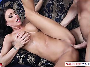 exclusive Jessica Jaymes blows and pokes his ample member