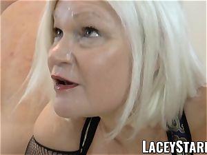 LACEYSTARR - UK grandmother gangbanged and licking jizz