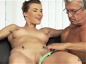DADDY4K. dame left with throatful of jizz after being smashed by father