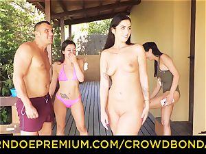 CROWD restrain bondage Outdoor pool fuck-fest for sizzling Loren Minardi
