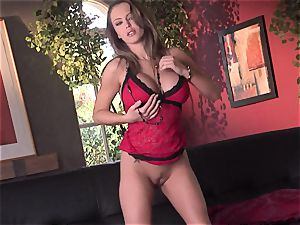 Jenna Presley takes it off leisurely to showcase off her fat globes and smoking bod