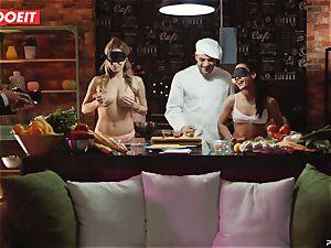 Latina Apolonia Lapiedra 4some sex in the kitchen